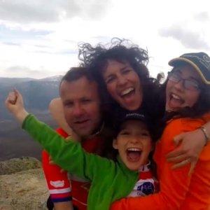 The Meek family trekking up Cachiporrilla Peak in Spain