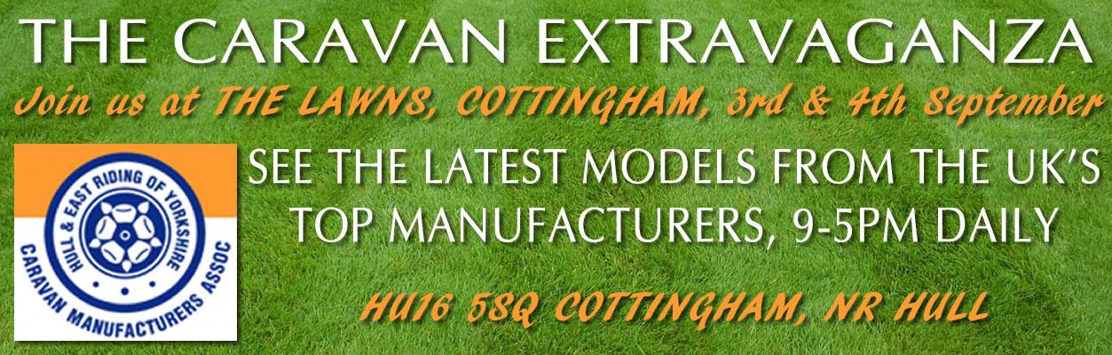 the lawns caravan banner